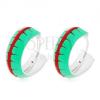 Fülbevaló 925 ezüstből, karikák zöld fénymázzal és piros sávval, 14 mm
