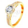 Gyűrű 14K sárga aranyból - átlátszó cirkónia csillogó szegéllyel, díszített szárak