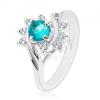 Fénylő gyűrű ezüst színben, kék cirkónia, ívek