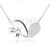 Állítható nyakék, aszimmetrikus szív, fényes lepke, 925 ezüst