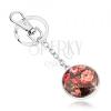 Kulcstartó kaboson stílusban, kidomborodó fénymáz, színes rózsák