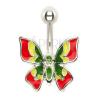Köldök piercing - többszínű pillangó
