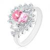Ezüst színű gyűrű, csiszolt rózsaszín ovális, átlátszó cirkóniás ívek