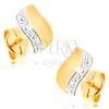 Fülbevaló 14K aranyból - kétszínű hullám apró pöttyökkel