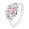 Gyűrű vékony szárakkal, rózsaszín ovális cirkónia, apró átlászó cirkóniák