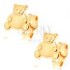 585 arany fülbevaló - kedves maci fényes sima pocakkal