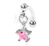 Szemöldök piercing sebészeti acélból, cirkóniás csillag rózsaszín színben testékszer