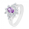 Ezüst színű gyűrű, lila ovális cirkónia átlátszó szegéllyel