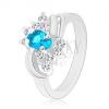 Gyűrű keskenyedő sima szárral, kék ovális cirkónia, két pár ív