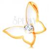 585 arany medál - kis pillangó, szárnyai fehér fénymázasak, átlátszó cirkónia