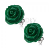 Bedugós acél fülbevaló, sötétzöld rózsa gyantakőből, 20 mm