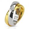 Kettős acél gyűrű, arany és ezüst színű karika, cikróniás kereszt