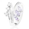 Gyűrű ezüst színben szétágazó szárakkal, átlátszó és világoslila cirkóniák