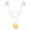 585 arany nyaklánc - vékony lánc, fényes lapos kör, két szív fehér aranyból