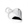 925 ezüst medál, egyeneltes szív alakban, fényes, kidomborodó, sima