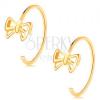 14K sárga arany fülbevaló - vékony félkör, fényes masni