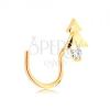 585 arany ívelt orrpiercing - fényes fenyőfa átlátszó cirkóniával