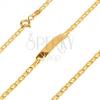 Karkötő 14K sárga aranyból - lemez, ovális szemek lemezzel elválasztva, 170 mm