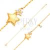 14K sárga arany karkötő - két ötágú csillag és kerek cirkónia