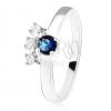 Gyűrű - 925 ezüst, sötétkék, kerek cirkónia, három, átlátszó kő