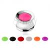 Alagút plug fülbe, acélból, 7 neon színű lemez, 12 mm