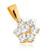 Medál 9K sárga aranyból - csillogó, átlátszó cirkóniás virág