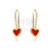Arany fülbevaló - fényes szabálytalan szív, piros fénymáz