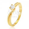 Gyűrű 14K sárga aranyból - kettős szárak, kerek kő a foglalatban