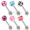 Piercing nyelvbe sebészeti acélból, színes golyók virágokkal