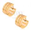 Aranyozott karika fülbevaló acélból, két egyenes bemetszés, diagonális vésetek