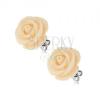 Fülbevaló acélból, krémszínű rózsa, stekkeres kapocs, 14 mm