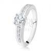 925 ezüst, eljegyzési gyűrű, kerek, átlátszó kő, díszített szárak