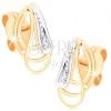 Fülbevaló 9K aranyból - egymást metsző vékony körvonalak, masni cirkóniával