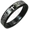 Fekete gyűrű rozsdamentes acélból - kereszt és imaszöveg