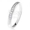 Fényes karikagyűrű, két lekerekített cirkóniás vonal, 925 ezüst