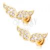 585 arany fülbevaló - csillogó angyal szárnyak átlátszó cirkóniával kirakva