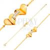 14K sárga arany karkötő - szívecskék cirkóniás sávval összekapcsolva, vékony lánc