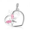 Medál 925 ezüstből, szív kontúr, pillangó - rózsaszín cirkóniás szárnyak
