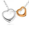 925 ezüst nyakék - két szív kontúr ezüst és arany kivitelezésben