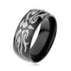 Fényes acél gyűrű fekete színben, szürke tribal motívum, sima felület