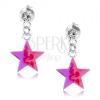 925 ezüst stekkeres fülbevaló, átlátszó kristály, rózsaszínes lila csillag