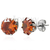 Bedugós fülbevaló - narancs cirkónia 8 mm