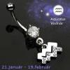 Köldök piercing csillagjegy medállal - Vízöntő