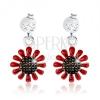 Beszúrós fülbevaló, 925 ezüst, virág piros-fekete fénymázzal, átlátszó cirkónia