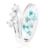 Gyűrű ezüst színben szétágazó szárakkal, átlátszó és világoskék cirkóniák