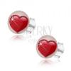 Bedugós fülbevaló 925 ezüstből, fehér hátteren szimmetrikus piros szív