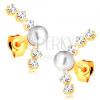 14K sárga arany fülbevaló - ív átlátszó cirkóniákból, fényes fehér gyöngy