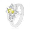 Csillogó gyűrű ovális sárgászöld cirkóniával, sima fényes ívek