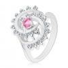 Ezüst színű gyűrű, csavart mintás szegély, rózsaszín kerek cirkónia