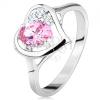 Ezüst színű gyűrű, szívkörvonal rózsaszín oválissal és átlátszó cirkóniákkal